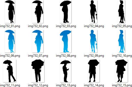 傘をさす人持つ人のシルエットイラスト画像 パワーポイント