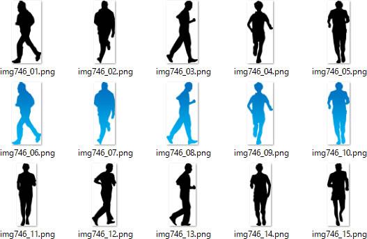 走る人ランニングする人物のシルエットイラスト画像