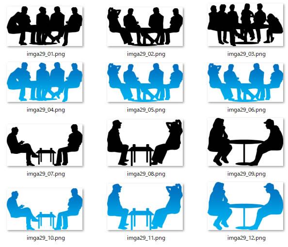 会議打合せのシルエットイラスト画像 パワーポイントフリー素材