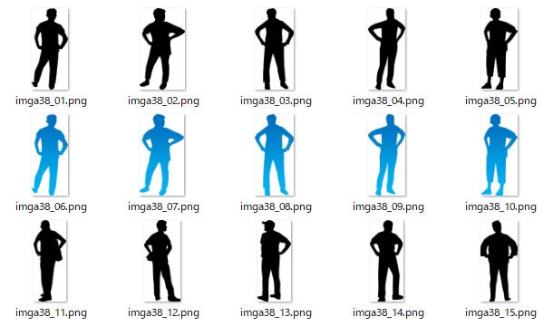 腰に手を当てる人のシルエットイラスト画像 パワーポイントフリー