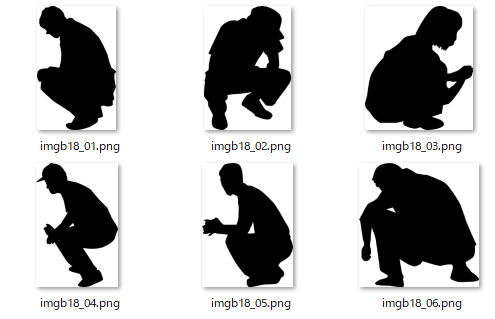しゃがんでいる人物のシルエット 画像 フリー素材 無料素材のdigipot