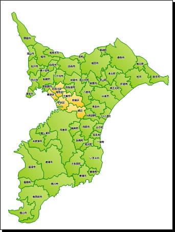 千葉県地図(パワーポイントフリー素材)