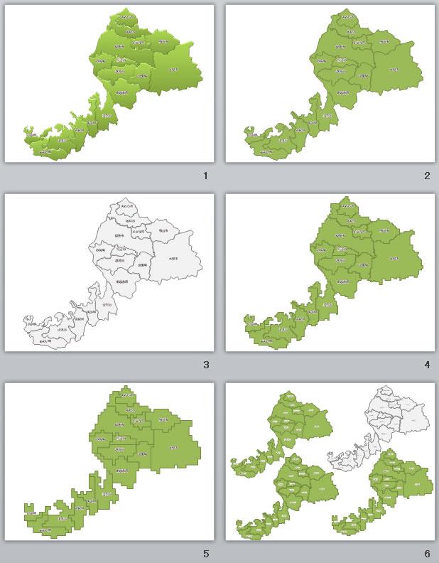 福井県地図2(パワーポイントフリー素材)
