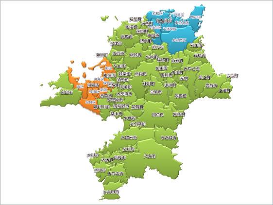 福岡県地図(パワポ2010) : 日本地図のフリー素材(パワーポイント、画像など) - NAVER まとめ
