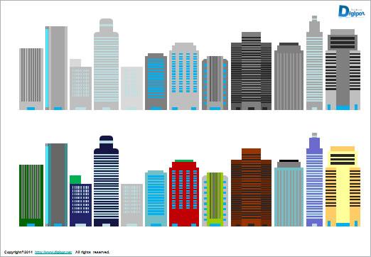 ビル群のイラストパワーポイント パワーポイントフリー素材のdigipot